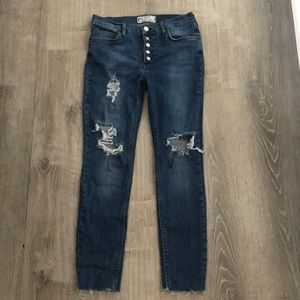 Free people distressed stretch skinny jeans
